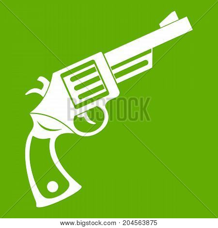 Vintage revolver icon white isolated on green background. Vector illustration