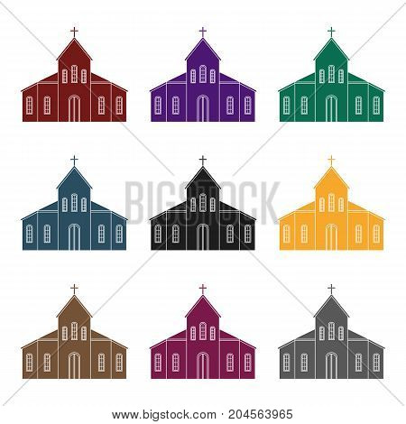 Church icon in black design isolated on white background. Funeral ceremony symbol stock vector illustration.