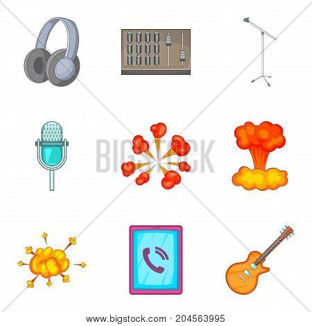 Sound control icons set. Cartoon set of 9 sound control vector icons for web isolated on white background