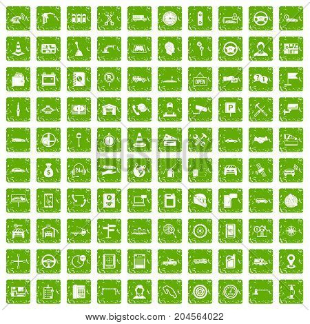 100 auto service icons set in grunge style green color isolated on white background vector illustration