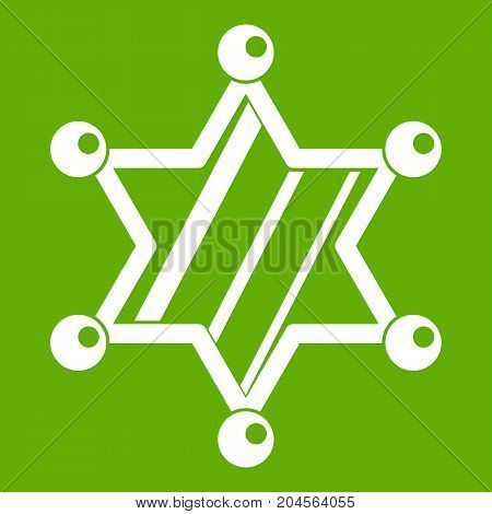 Sheriff star icon white isolated on green background. Vector illustration
