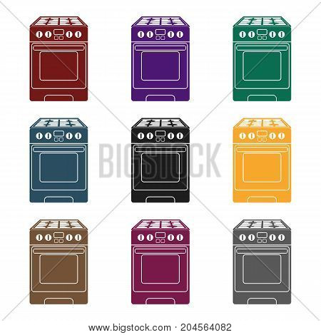 Kitchen stove icon in black style isolated on white background. Household appliance symbol vector illustration.