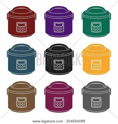 Multicooker icon in black style isolated on white background. Household appliance symbol vector illustration.
