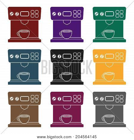 Coffeemaker icon in black style isolated on white background. Household appliance symbol vector illustration.