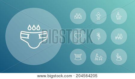 Collection Of Man In Armchair, Grangmother, Baby And Other Elements.  Set Of 10 Family Outline Icons Set.