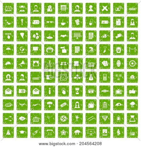 100 journalist icons set in grunge style green color isolated on white background vector illustration