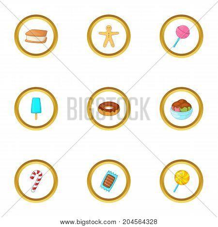 Sweet dessert icons set. Cartoon style set of 9 sweet dessert vector icons for web design