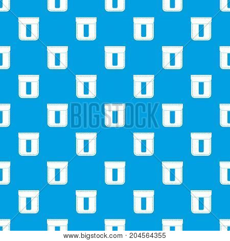 Black pocket pattern repeat seamless in blue color for any design. Vector geometric illustration