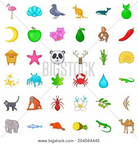 Mammal icons set. Cartoon style of 36 mammal vector icons for web isolated on white background