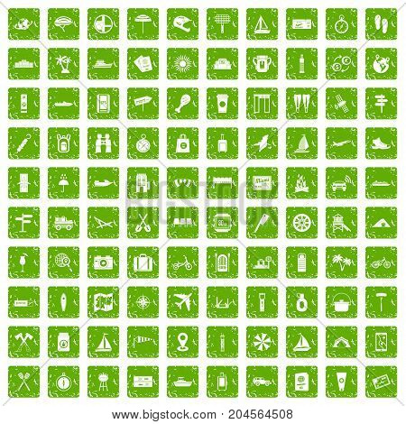 100 journey icons set in grunge style green color isolated on white background vector illustration