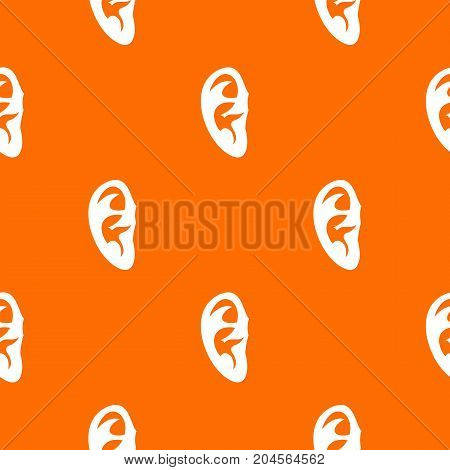 Ear pattern repeat seamless in orange color for any design. Vector geometric illustration