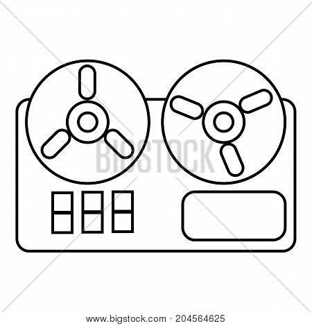 Reel tape recorder icon. Outline illustration of reel tape recorder vector icon for web design isolated on white background
