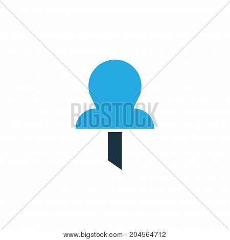 Premium Quality Isolated Pushpin Element In Trendy Style.  Pin Colorful Icon Symbol.