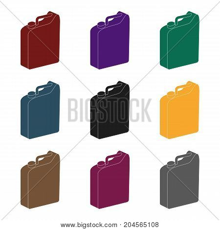 Canister for gasoline.Oil single icon in black style vector symbol stock illustration .