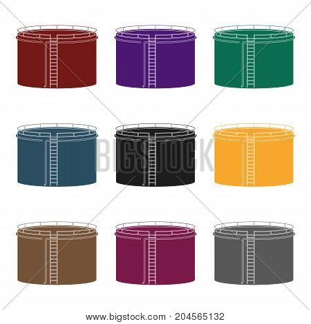 Oil storage tank.Oil single icon in black style vector symbol stock illustration .