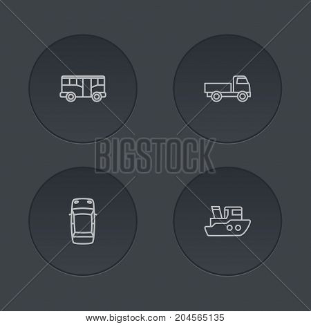 Collection Of Bus, Top, Truck And Other Elements.  Set Of 4 Transport Outline Icons Set.