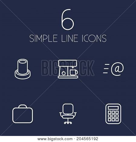 Collection Of Email, Calculator, Briefcase And Other Elements.  Set Of 6 Office Outline Icons Set.