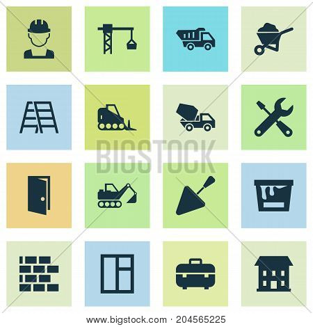 Architecture Icons Set. Collection Of Glass Frame, Lifting Hook, Carry Cart And Other Elements