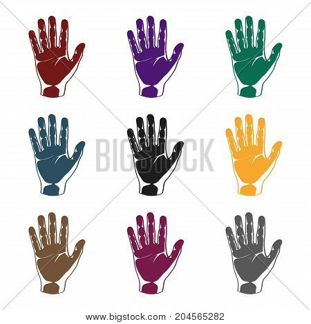 Hand icon in black style isolated on white background. Part of body symbol vector illustration.