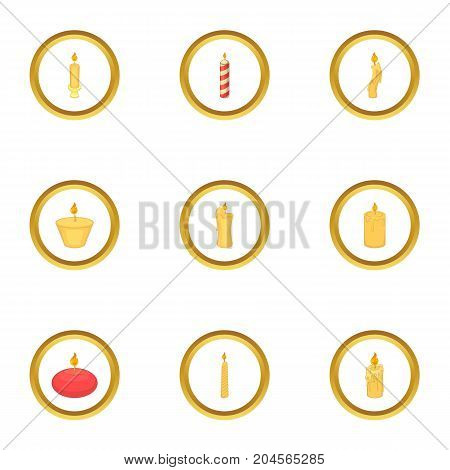 Candle icons set. Cartoon style set of 9 candle vector icons for web design