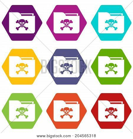 File folder with a skull icon set many color hexahedron isolated on white vector illustration