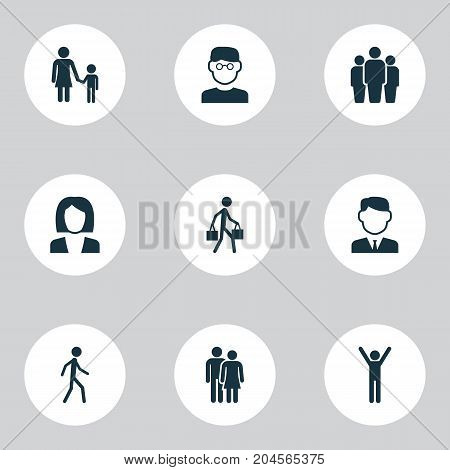Human Icons Set. Collection Of Beloveds, Group, Jogging And Other Elements