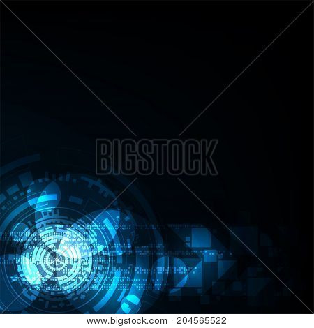 Vector background in technology concept on a dark blue background.