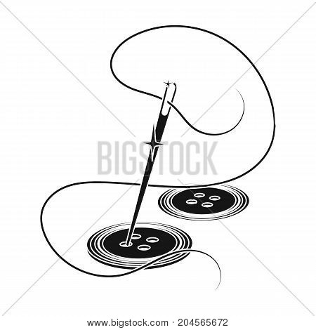 Sewing of buttons. Sewing and equipment single icon in black style vector symbol stock illustration .