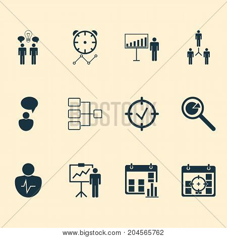 Administration Icons Set. Collection Of Co-Working, Special Demonstration, Project Targets And Other Elements