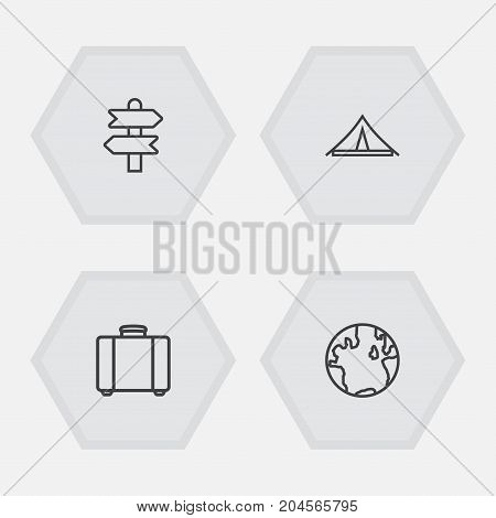 Collection Of Globe, Awning, Suitcase And Other Elements.  Set Of 4 Journey Outline Icons Set.