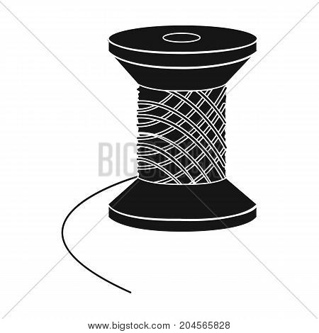 The wooden coil of thread for sewing. Sewing and equipment single icon in black style vector symbol stock illustration .