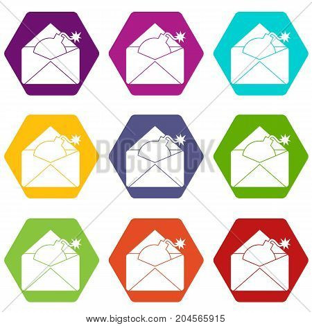 Envelope with bomb icon set many color hexahedron isolated on white vector illustration