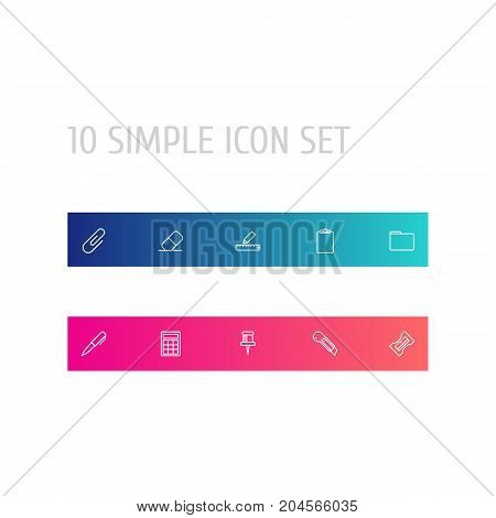 Collection Of Eraser, Portfolio, Pushpin And Other Elements.  Set Of 10 Tools Outline Icons Set.