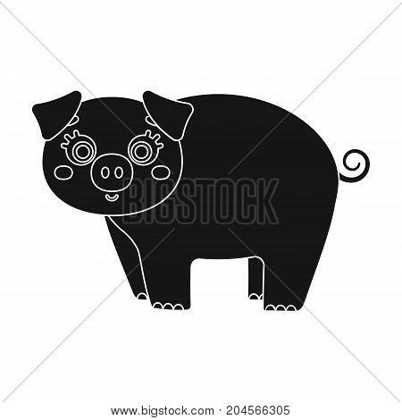 Piglet, single icon in black style.Piglet vector symbol stock illustration .