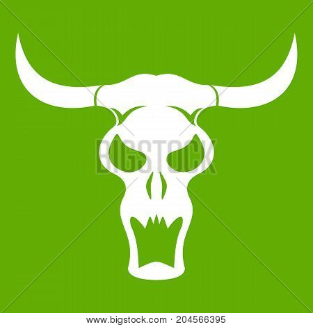 Buffalo skull icon white isolated on green background. Vector illustration