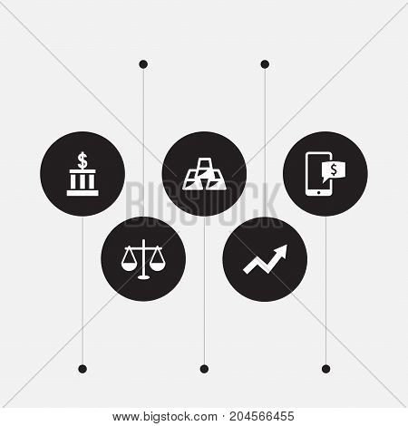 Collection Of Grown, Balance, Ingot And Other Elements.  Set Of 5 Finance Icons Set.