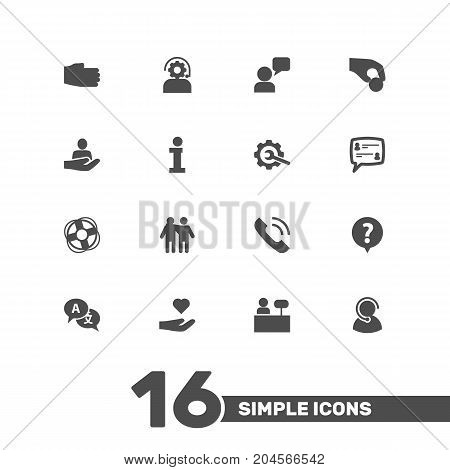 Collection Of Help, Gear, Safe Ring And Other Elements.  Set Of 16 Support Icons Set.