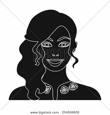 Woman, single icon in black style.Woman, vector symbol stock illustration .