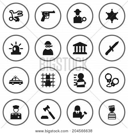 Collection Of Revolver, Police Car, Prisoner And Other Elements.  Set Of 16 Criminal Icons Set.