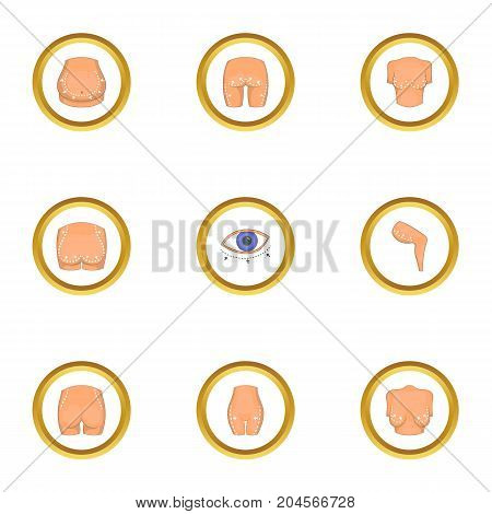 Body correction icons set. Cartoon style set of 9 body correction vector icons for web design