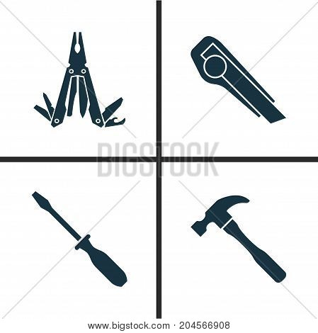 Handtools Icons Set. Collection Of Turn-Screw, Cutter, Multifunctional Pocket And Other Elements