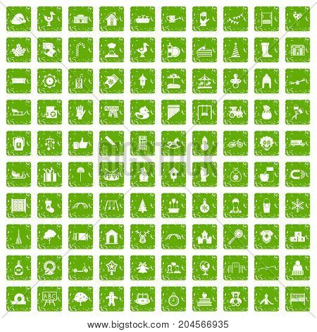 100 kindergarten icons set in grunge style green color isolated on white background vector illustration