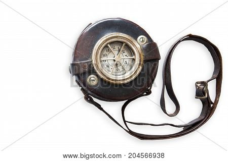 Antique Security Guard Watchclock Isolated On White Background