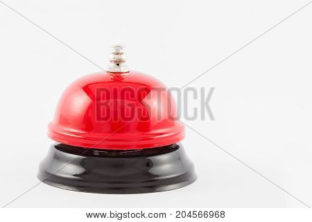 Red Service Desk Bell Isolated On White Background