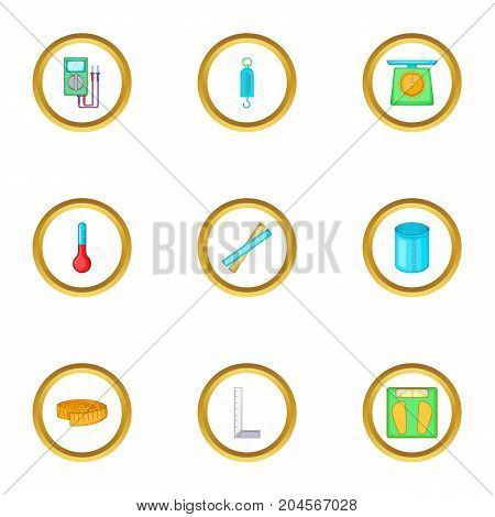 Measure tool icons set. Cartoon style set of 9 measure tool vector icons for web design