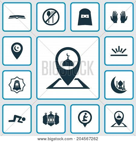 Religion Icons Set. Collection Of Location, Prayer Place, Inscription And Other Elements