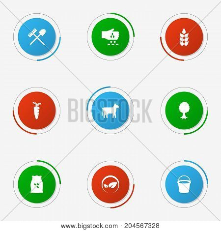 Collection Of Ecology, Kine, Sack And Other Elements.  Set Of 9 Agriculture Icons Set.