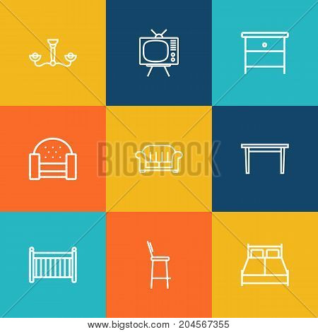 Collection Of Armchair, Bar Stool, Nightstand Elements.  Set Of 9 Decor Outline Icons Set.