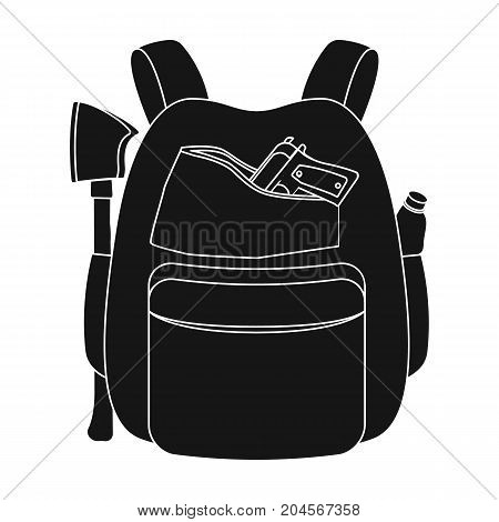 Backpack, single icon in black style.Backpack, vector symbol stock illustration .