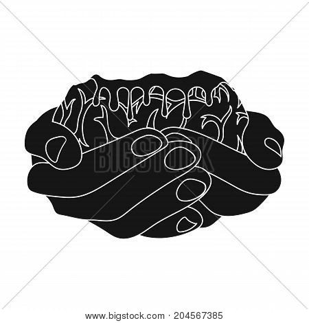Hands, single icon in black style.Hands, vector symbol stock illustration .